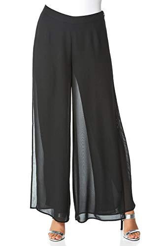 Roman Originals dames brede palazzo-broek - volledige lengte jersey kantoor formele elegante avonds uitgegeven hoge taille elastische slipbroek