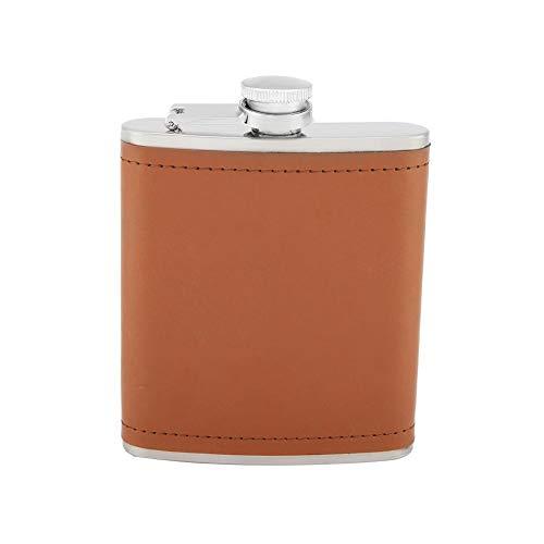 Flachmann lekvrij roestvrij staal-bruin-leer voor het opbergen van whisky-likeur-schot, met premium box, ideaal geschenk voor de man.