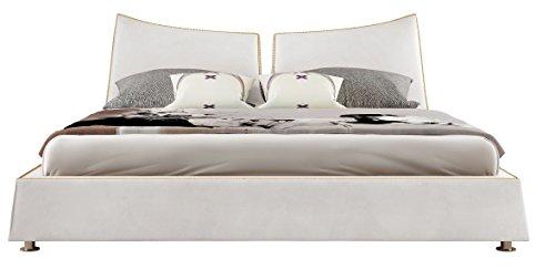IQ Bed Modell New York Polsterbett, weiß, 200 x 180, Kopfteil 91 cm hoch