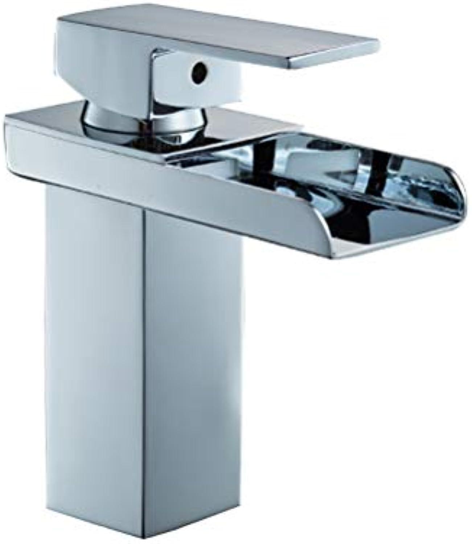 LUTAP Wasserhahn Bad Kupfer Silber überzogene Quadratische Waschbecken Wasserdusche Hei Und Kalt Waschbecken Wasserhahn,a
