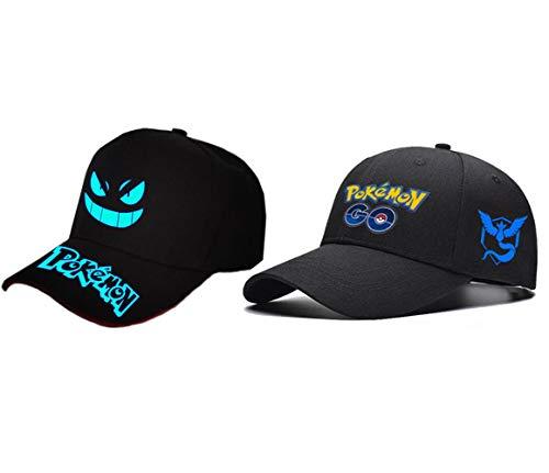 Sombrero de anime de Pokémon Go, unisex, para adultos, de algodón, para béisbol, hip-hop, gorra de Pokémon para cosplay al aire libre, Poke Ball Demo Sombrero -  Negro -  Medium