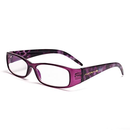 JIMMY ORANGE老眼鏡 レディース おしゃれ メンズ ブルーライト35%カット PC用 リーディンググラス スクエア シマウマ柄 ヒョウ柄 バネ テンプル 男女兼用 老眼鏡に見えない ケース付きAN3241005(パープル 2.0)