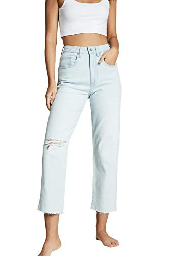 COTTON ON Women's Straight Stretch Jean, Bondi Blue Rip, 10