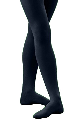 Butterfly Hosiery Junior Girls' Solid Colored Dance Ballet Custume Seamless Opaque Footed Tights Stocking Navy B