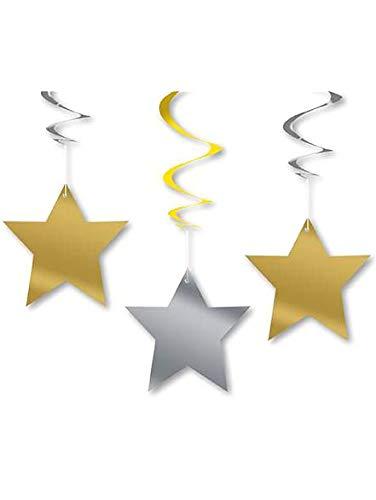 COOLMP Lot de 3 - 3 Décorations à Suspendre étoiles - Taille Unique - Décoration et Accessoires de fête, Animation Festive, Anniversaire, Mariage, événement, Jouet, Cotillon