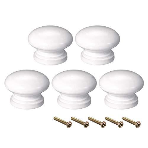 Sourcing map - Pomo redondo para muebles de dormitorio y cocina, color blanco, madera, 34mmx25mm(D*H)-5pcs