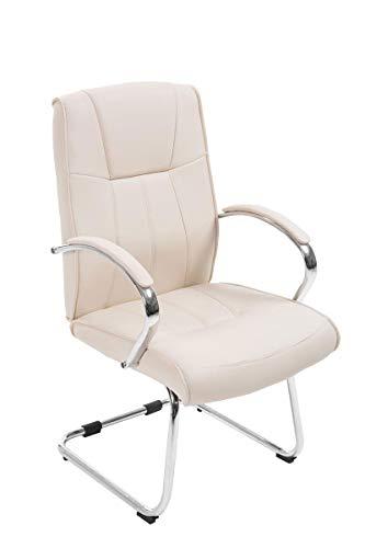 CLP Besucher Freischwinger-Stuhl BASEL V2 mit Armlehne, gepolstert creme