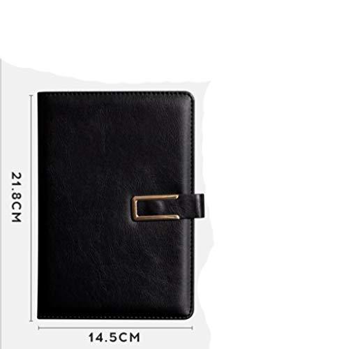 TAYIBO Cuaderno Punteado Bullet Journal de,Libreta de Suministros de Oficina, Cuaderno de Negocios con Hebilla magnética en Forma de U - A5_ Negro