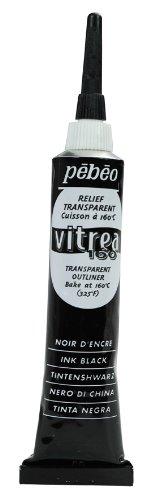 Pebeo Vitrea 160, Glass Paint Outliner, 20 ml Tube - Ink Black
