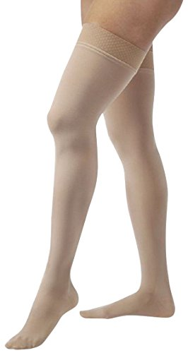 JOBST Relief 20-30 mmHg Compression Socks, Thigh High with Silicone Band, Beige, Medium