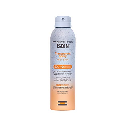 Fotoprotector ISDIN Transparent Wet Skin SPF 50, Spray transparente, eficaz sobre piel mojada, Ginger Cell Protect, 250 ml