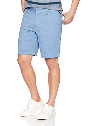 Nautica Men's Classic Fit Flat Front Stretch Solid Chino Deck Short, noon Blue, 32W