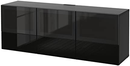 Ikea TV bench with doors and soft-closing drawers, black-brown, Selsviken high gloss/black smoked glass 2202.26178.146