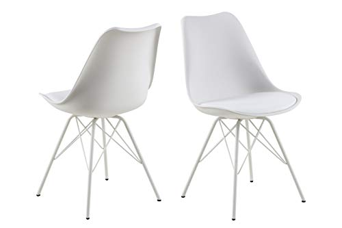 AC Design Furniture Emanuel Dining Chair, Faux Leather, White, L: 54 x W: 48.5 x H: 85.5 cm