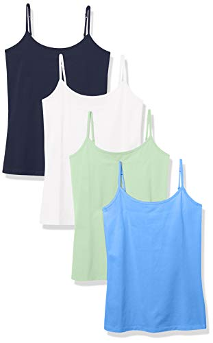 Amazon Essentials Women's 4-Pack Slim-Fit Camisole, Navy/White/Blue/Bright Mint, Small