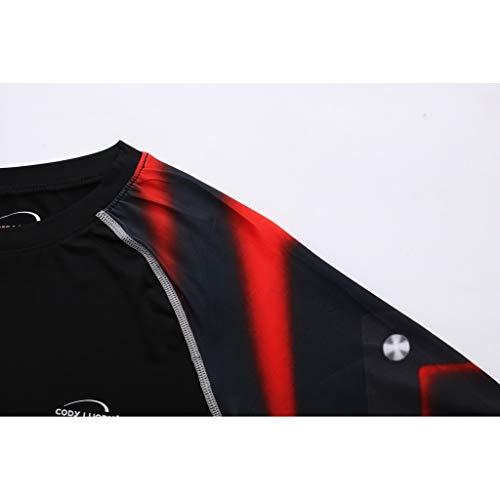 Herren Kompressions-Shirt langärmlig Funktionsshirts Fitness Baselayer Langarm Sport Longsleeve Shirt Top Bluse Slim Fit,17style - 5