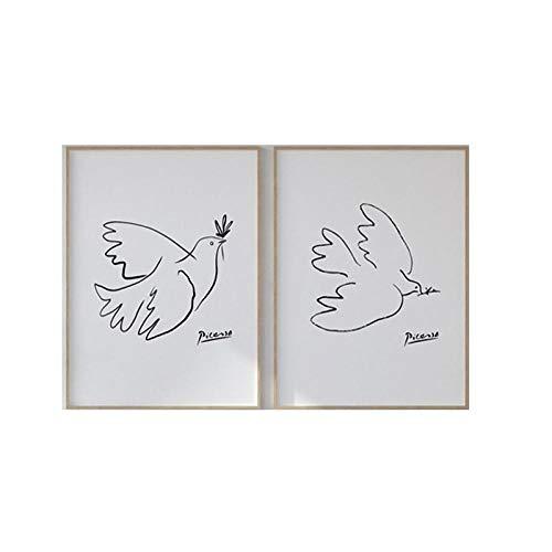 Pablo Picasso Animales Bocetos Poster Abstracto Uno LíNea Dibujos Pintura Paz Paloma Minimalista Pared Arte Lienzo Imprimir Pared Cuadro 40x60cmx2 No Marco