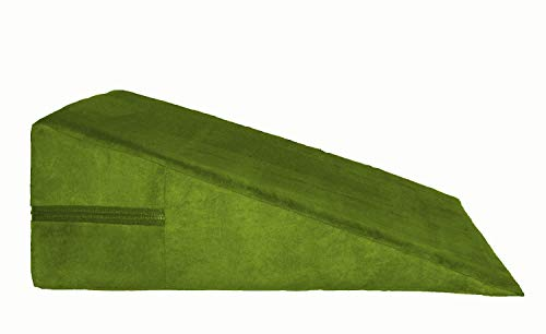 Micro-Suede Bed Wedge Support Pillow, Acid Reflux Therapeutic Foam Nick, Back and Legs Foam Wedge (18' X 18' X 8') SAGE