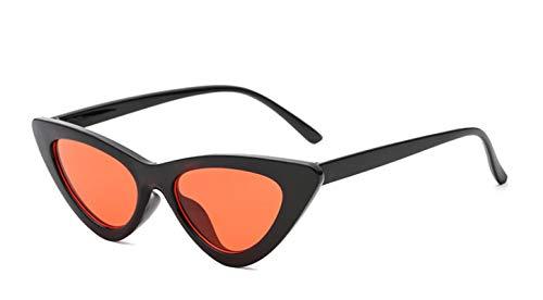 NJJX Lindas Gafas De Sol Retro Con Forma De Ojo De Gato Para Mujer, Pequeñas, Negras, Blancas, Gafas De Sol C4Blackred