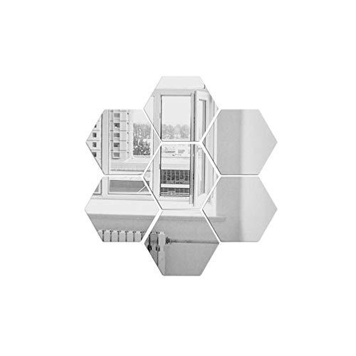 LIOOBO Espejos hexagonales Decoración Arte DIY Acrílico Medio ambiente Pegatinas de pared para oficina Hogar Sala de estar