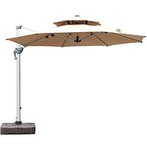 LKINBO 10 FT Cantilever Patio Umbrella - 360 Degree Rotation Outdoor Offset Umbrella Large Umbrella...