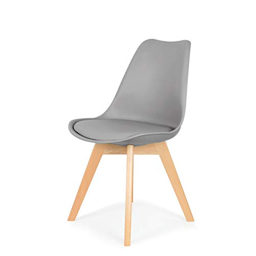 IHANA Dining Chair with Cushioned Pad Seat & Solid Beech Wood Legs for Mid Century Modern Dining Room Living Room Bedroom Kitchen & Lounge (Grey, 1)