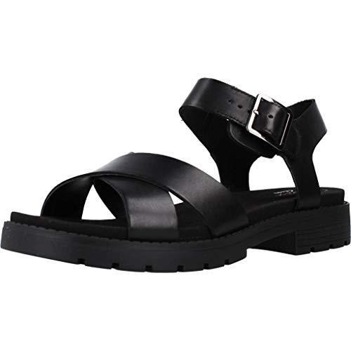 Clarks Orinoco Strap, Sandali con Cinturino alla Caviglia Donna, Nero (Black Leather Black Leather), 38 EU