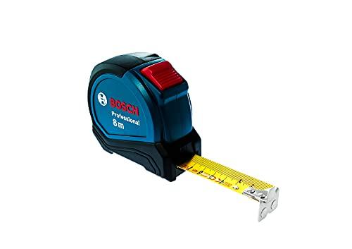 Bosch Professional 1600A01V3S 8m Maßband Autlock (Gürtelklemme, Magnethaken (NdFeB), 27mm Nylon-Stahlband), blau