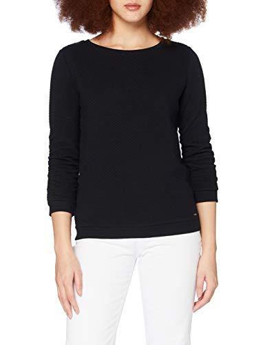 TOM TAILOR Denim Damen 1021114 Structure Sweatshirt, 14482-Deep Black, L