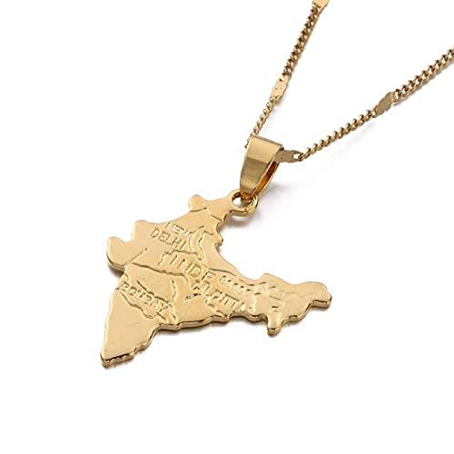 Collar con colgante de mapa de la República de la India de color dorado, joyería de mapa de la India