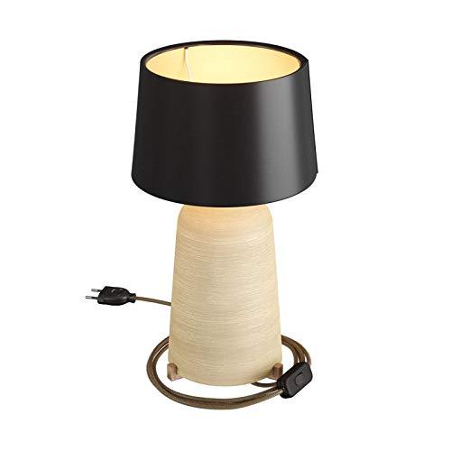 Lámpara de sobremesa Bottle de cerámica con Pantalla Athena, Completa con Cable Textil, Interruptor y Clavija de 2 Polos - con Bombilla, Tórtola Rayado - Negro