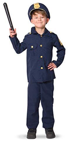 Folat 21693 Kinderkostüm Polizei Polizist Officer 116-134, blau, M