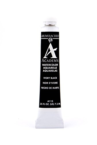 Grumbacher Academy Watercolor Paint, 7.5ml/0.25 Ounce, Ivory Black (A115)