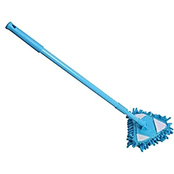 Lamoreco 180 Degree Rotatable Adjustable Triangular Cleaning Mop Home Reusable Washable Wall Washer Ceiling Cleaner and Baseboard Duster - Dry Dust/Wet Wash Mop