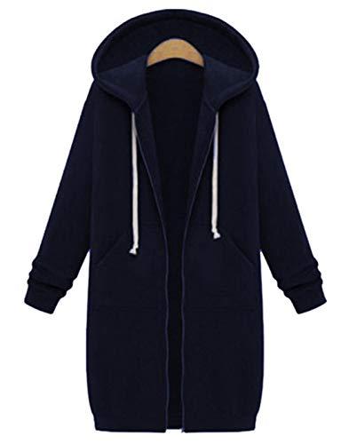 Hifanmall Damen Strickjacke Casual Mantel Hoodie Zipper Hoodies Sweatjacke Langer Manteljacke Oversized Coat Outwear Kapuzenpullover, Navy Blau, 46,3XL