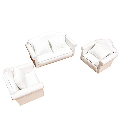 OhhGo Juego de cojines de sofá en miniatura para muebles de sala de estar modelo de juguete para casa de muñecas de escala 1:12