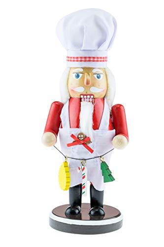 Clever Creations Fresh Out of The Kitchen - Koch-Nussknacker aus Holz - dekorative Weihnachtsfigur zum Sammeln - 25,5 cm