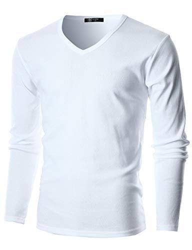 White V-neck Sweater for Men
