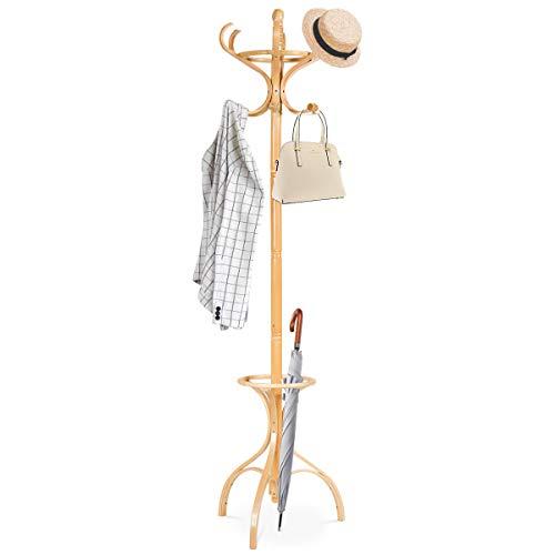 GOPLUS Garderobenständer mit Drehbarem Oberteil, Kleiderständer mit 12 Haken & Schirmständer, Garderobe aus Holz, Kleiderbaum, Ständer für Mantel, Jacke, Hut, für Büro, Wohnzimmer (Natur)