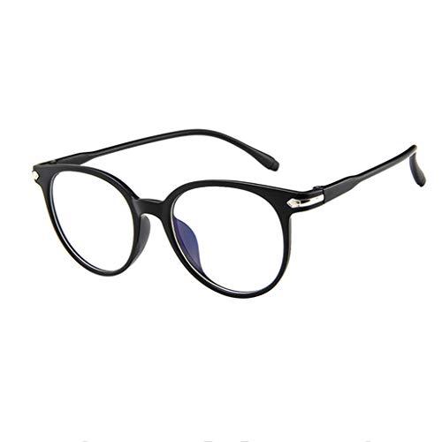 WooCo Retro Brille für Damen und Herren, Räumungsverkauf DEATU Mode Brillengestell Flacher Spiegel Transparente Brillengestell Plain Glass Brillen(Schwarz,One Size)