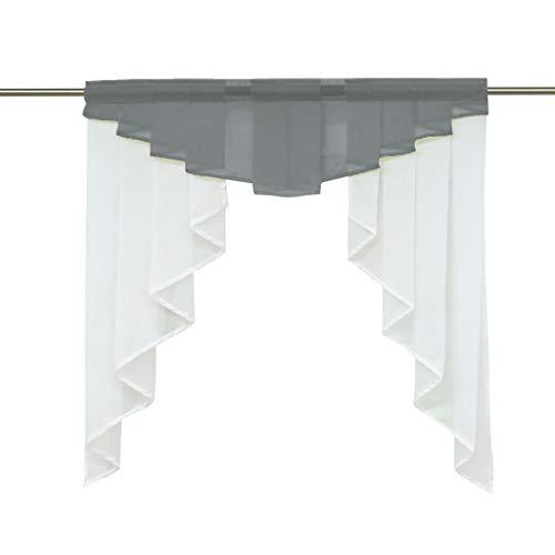 HongYa transparenter Voile Scheibengardine Tunnelzug Kurzstore Küche Kleinfenster Gardine H/B 125/120 cm Grau