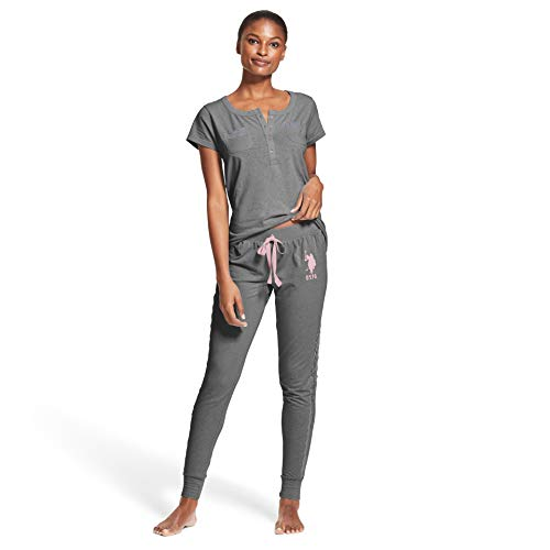 U.S. Polo Assn. Womens 2 Piece Short Sleeve Pocket Shirt Pajama Sleep Sweatpants Charcoal Heather X-Large
