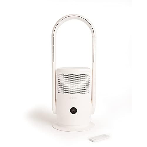 IKOHS Air Pure Studio - Purificatore ventilatore senza pale, 35 W, silenzioso, aria fresca e pura, elimina il 99,9% di polvere, polline, acari, germi e batteri, luce ultravioletta, WiFi e app (bianco)