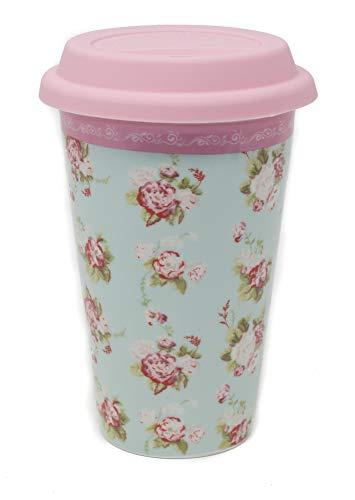 Forever England - Tasse Mug de Voyage - Katie Powell Forever England Martha Floral - 400 ml - Vert/Rose