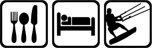 myrockshirt Essen schlafen Wakeboard ca 20cm Wassersport Aufkleber Sticker Autoaufkleber Profi-Qualität Sticker UV-fest