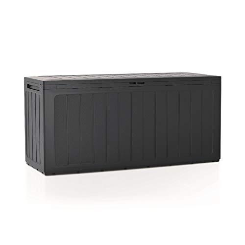 Prosperplast Boardebox Gartenbox Kissenbox Gartentruhe Verschließbar (280 Liter, Anthrazit)