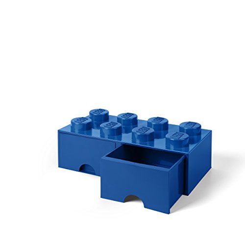 LEGO Brick Drawer, 8 Knobs, 2 Drawers, Stackable Storage Box, Bright Blue