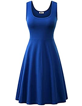 Herou Midi Dress Summer Casual Sleeveless Scoop Neck Halter Skater Dress for Women 1-Royal Blue L