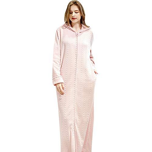 Albornoz Largo con Capucha para Mujer Batas de Lana de Franela Invierno cálido con Cremallera Bata camisón Ropa de Dormir Pijamas,Pink-M