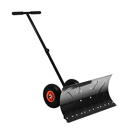HOMCOM Heavy-Duty Snow Shovel Rolling Pusher with 29'' Blade, 10'' Wheels and Angle-Adjustable Handle Black